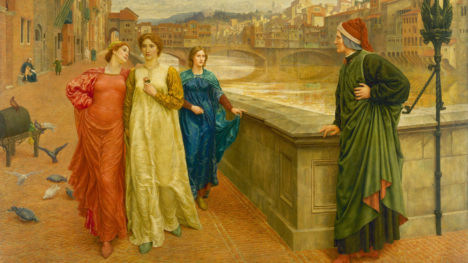 """Henry Holiday, """"Dante and Beatrice,"""" 1883, oil on canvas. Public domain image."""