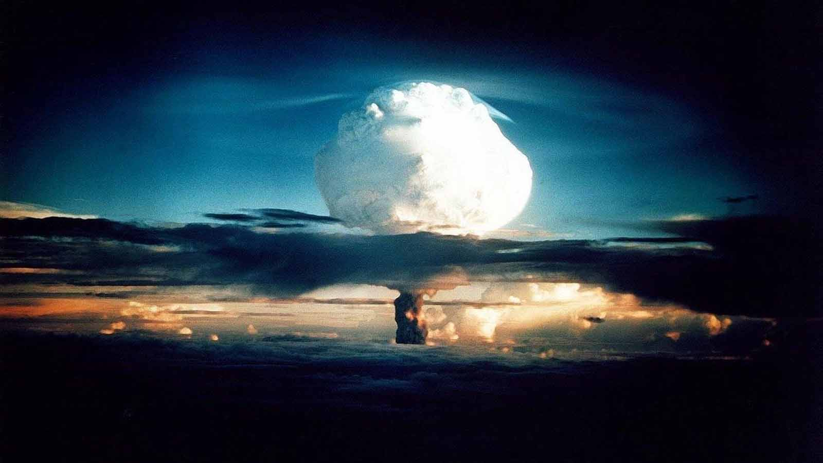 Hydrogen bomb explosion during a nuclear arms test.