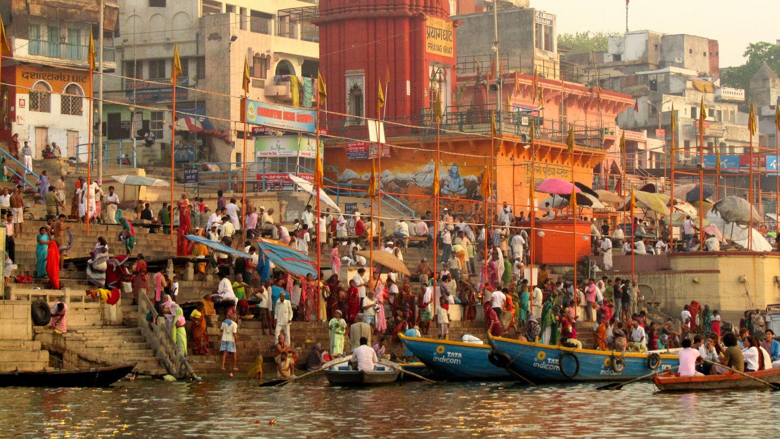 Boats and Shoreline of Ganges River in India