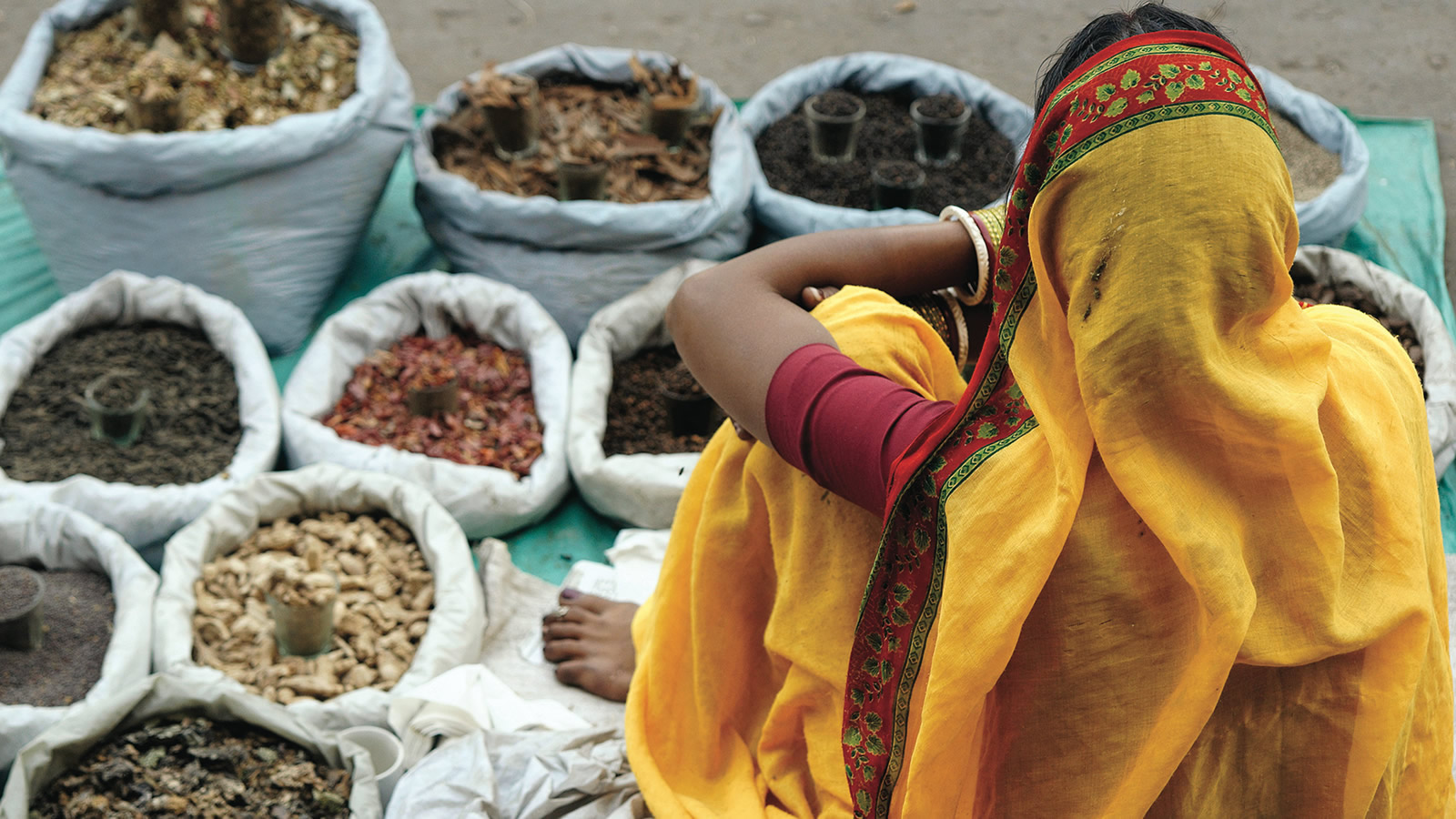 Indian Woman in Yellow Sari Sitting on Bags of Spices