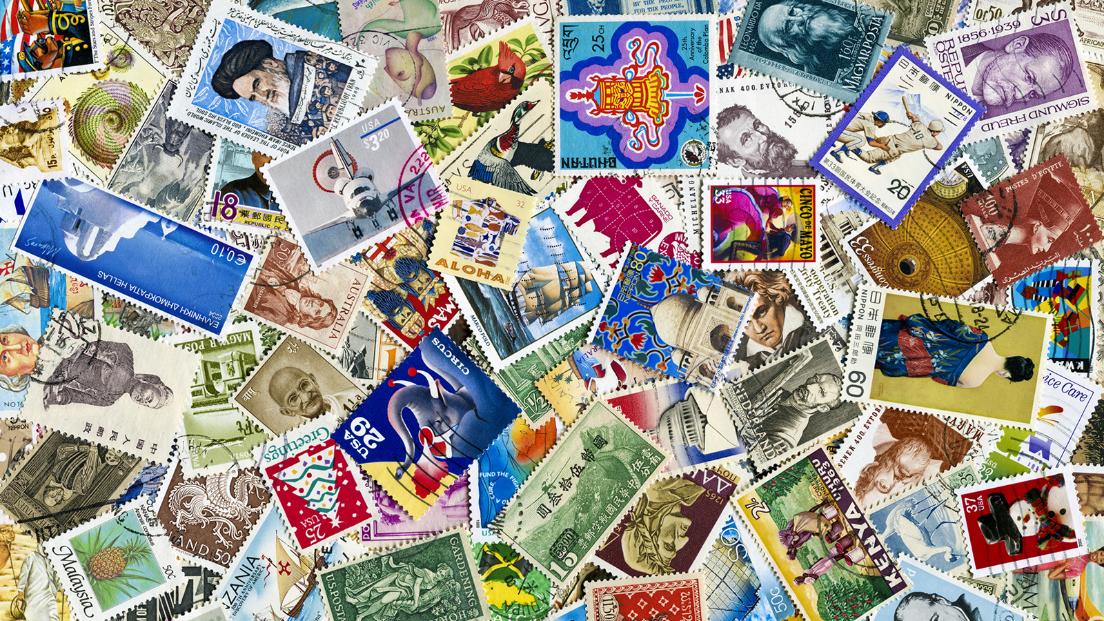 A collage of international postal stamps