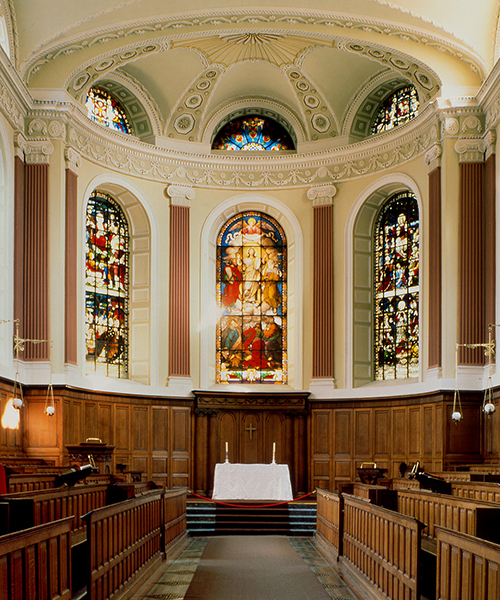 Interior of the Ecumenical Chapel at Trinity College  Dublin in Ireland