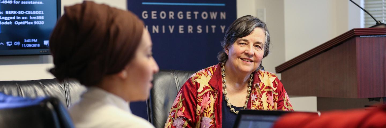 Katherine Marshall teaches a seminar