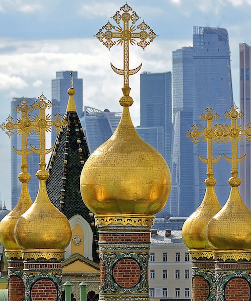 Moscow skyline with spires of an Orthodox church