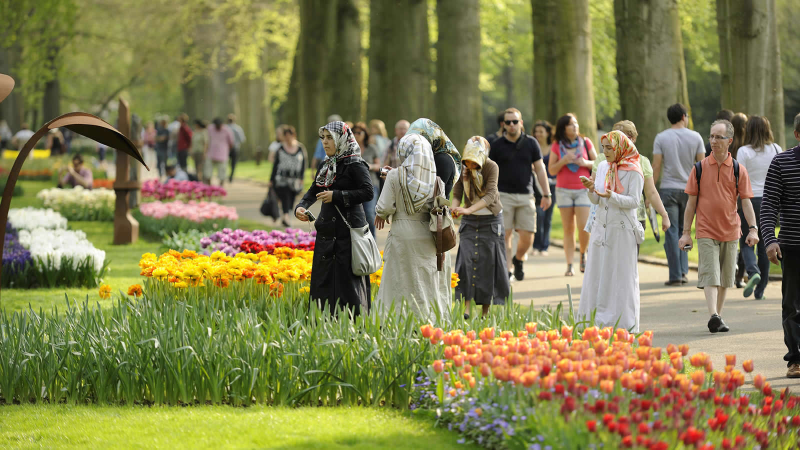 A group of Muslim women in headscarves view tulips at Keukenhof Gardens in the Netherlands