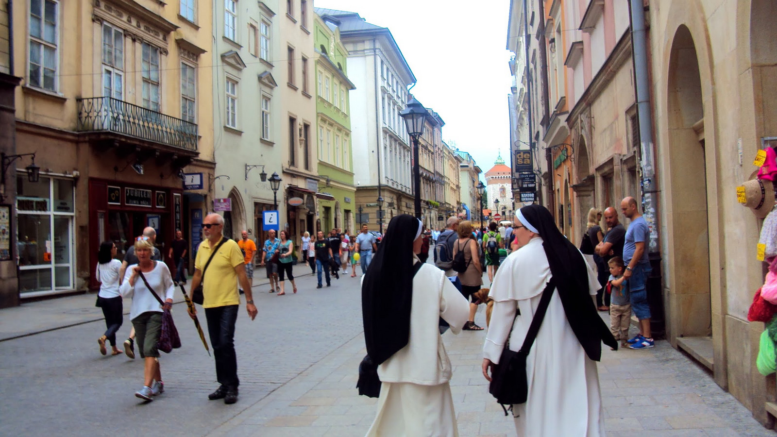Nuns Walking on City Street in Poland