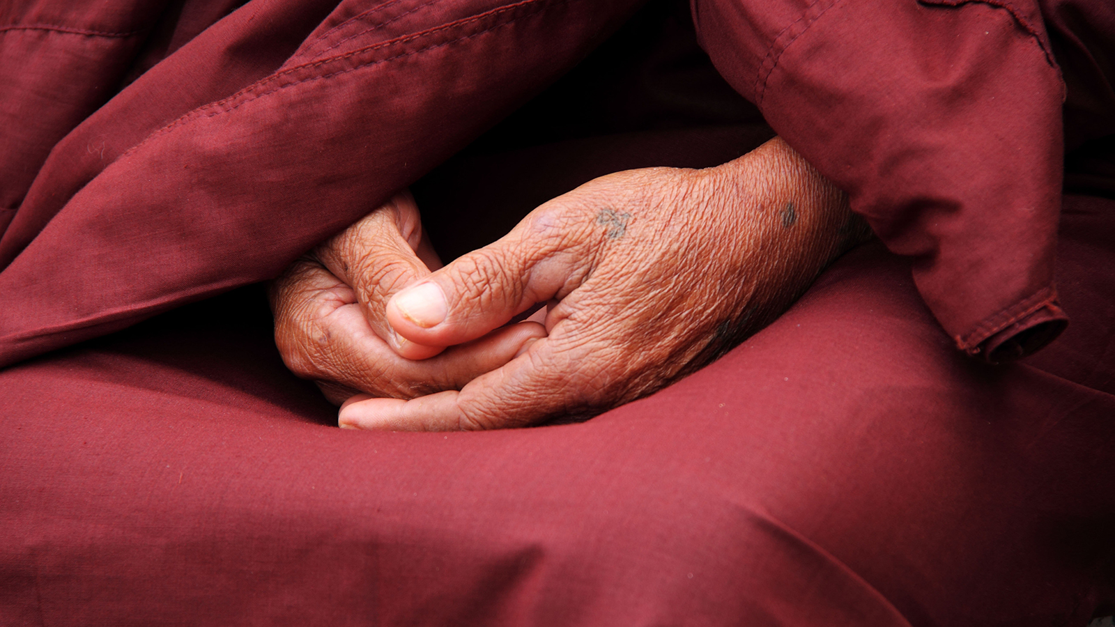 Elder Buddhist monk clasps his hands in contemplation.