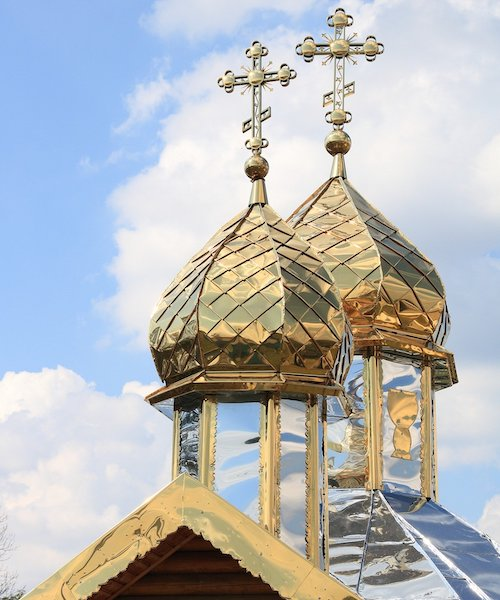 Steeple of an Orthodox church in Ukraine.