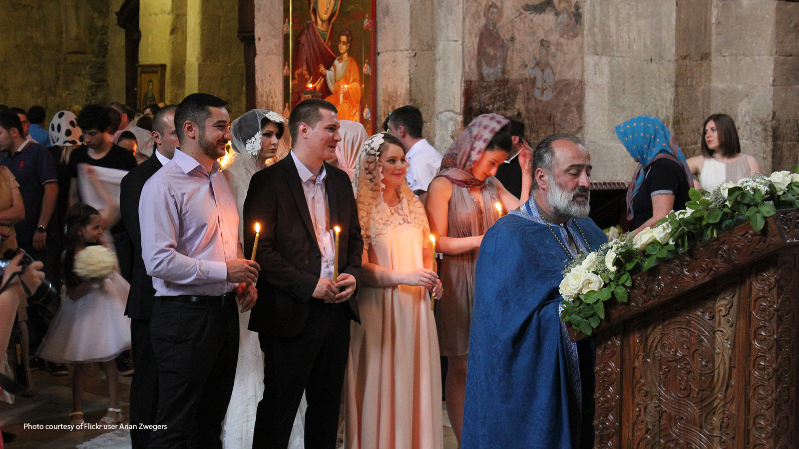 Wedding in an Eastern Orthodox church in Europe.