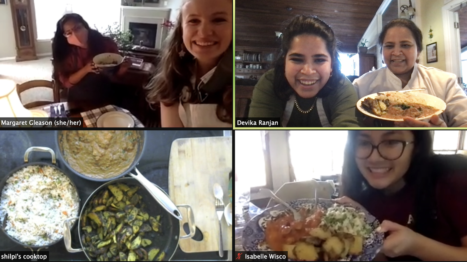 Students in Performing Migration participate in a cooking class via Zoom