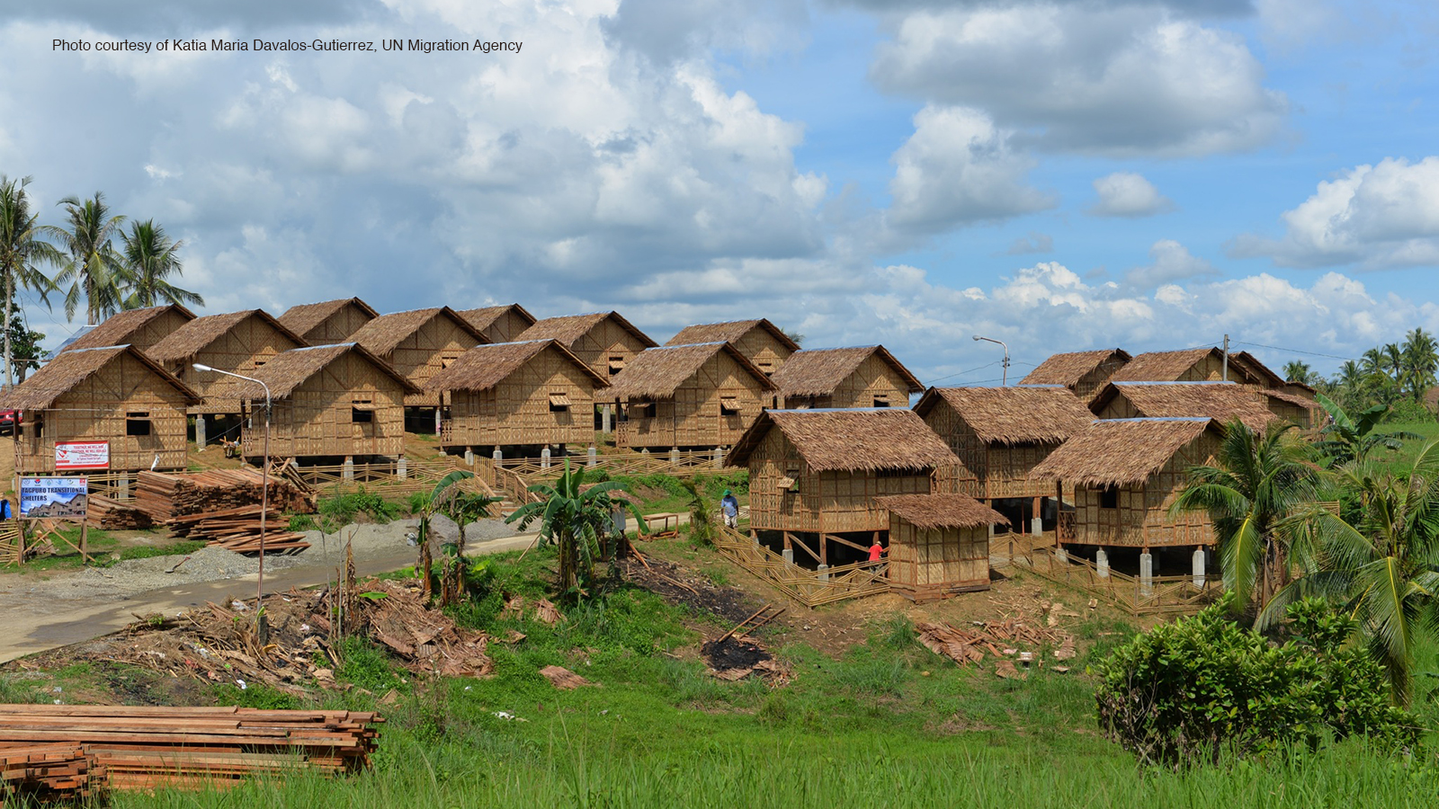Philippines landscape with thatched huts