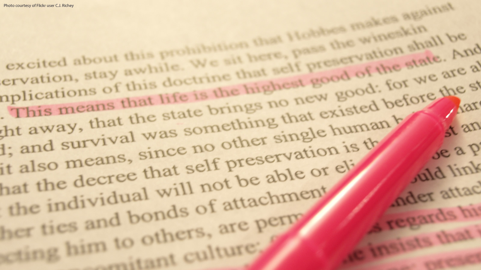 Philosophy Text with Pink Highlighter