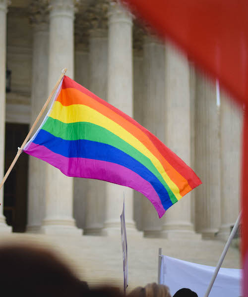 Pride flag flies outside the U.S. Supreme Court