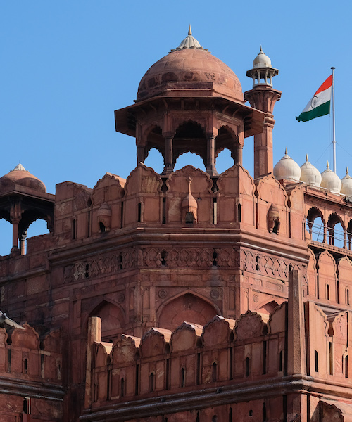 Indian flag flies above the Red Fort in Delhi