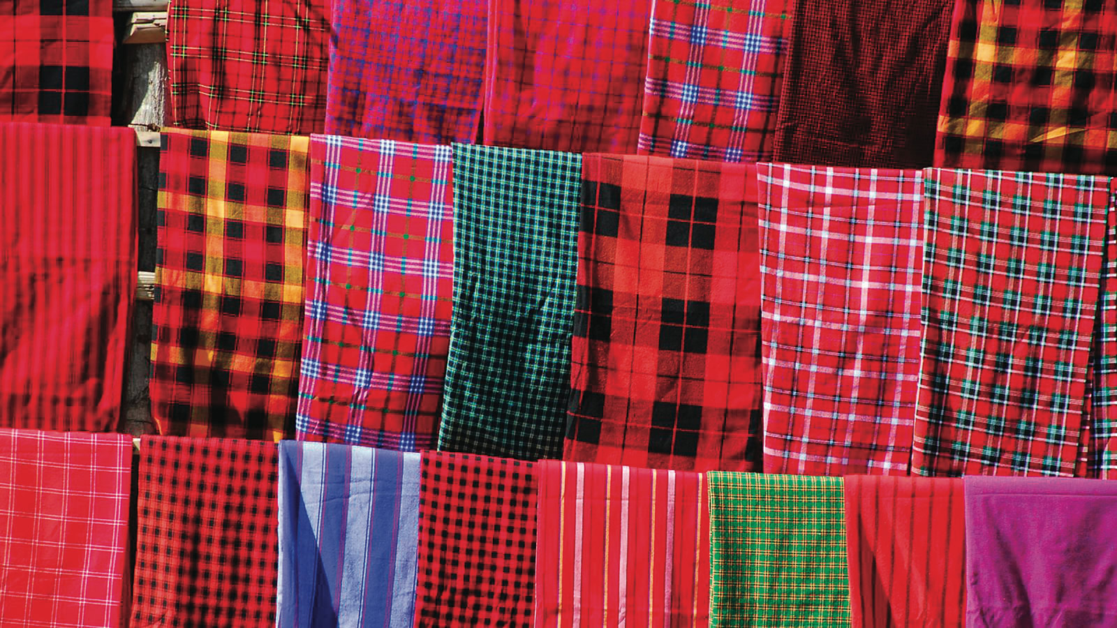 Rows of Red Plaid Cloth