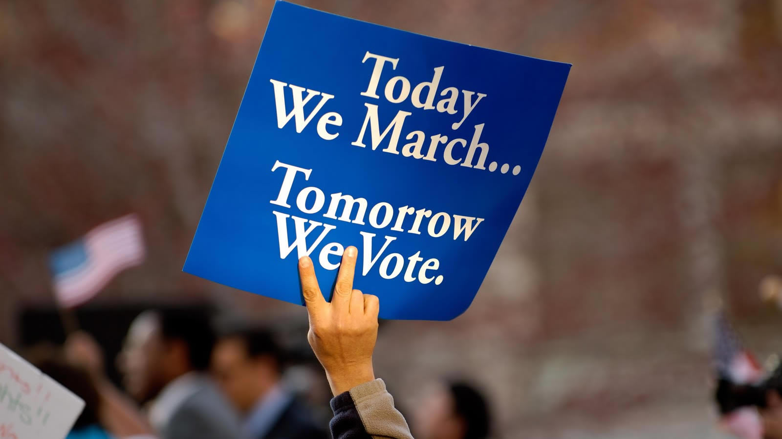 """Today We March, Tomorrow We Vote"" Sign"