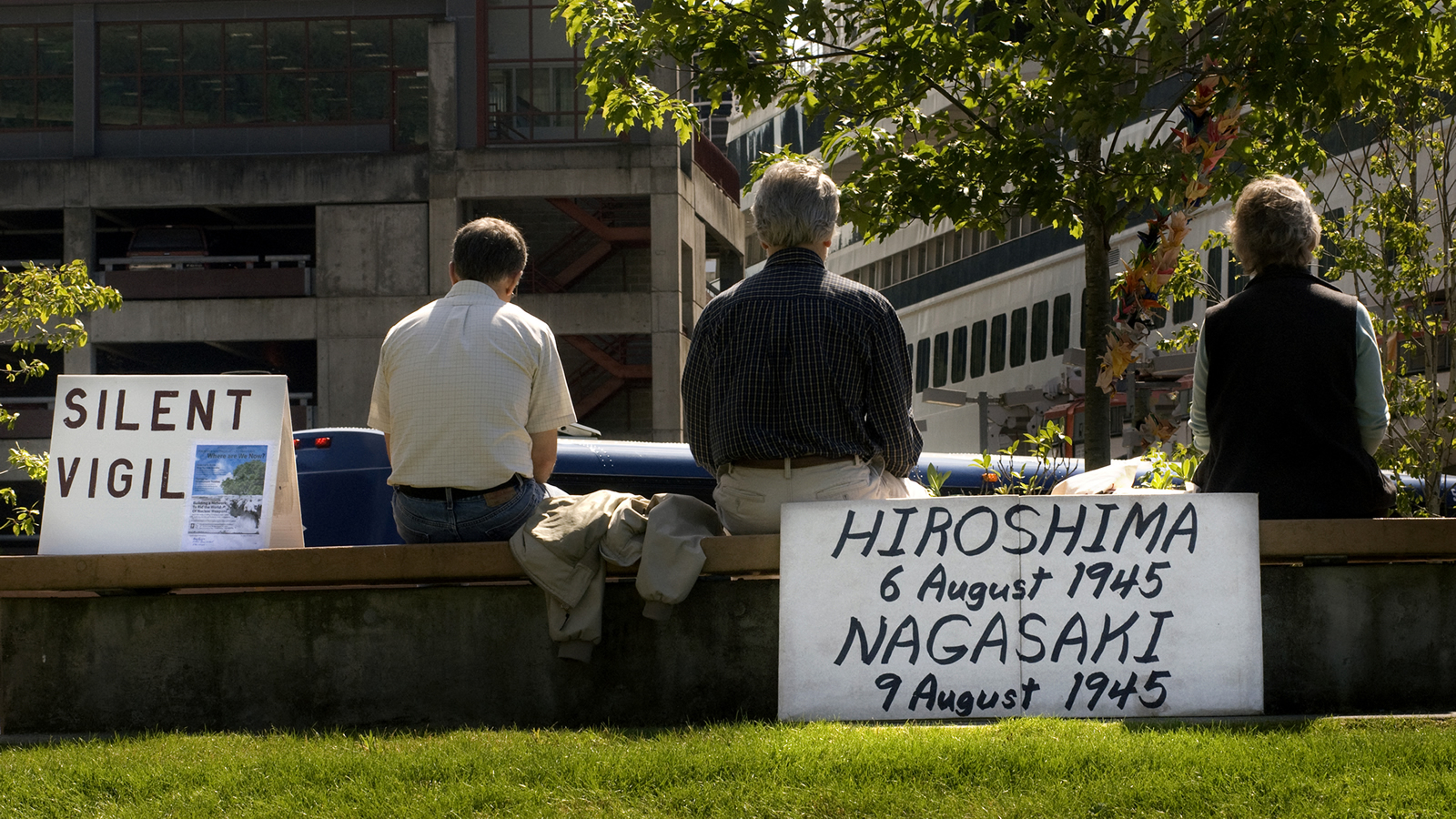 Silent Peace Vigil with Sign for the Anniversary of the Hiroshima/Nagasaki Atomic Bombs