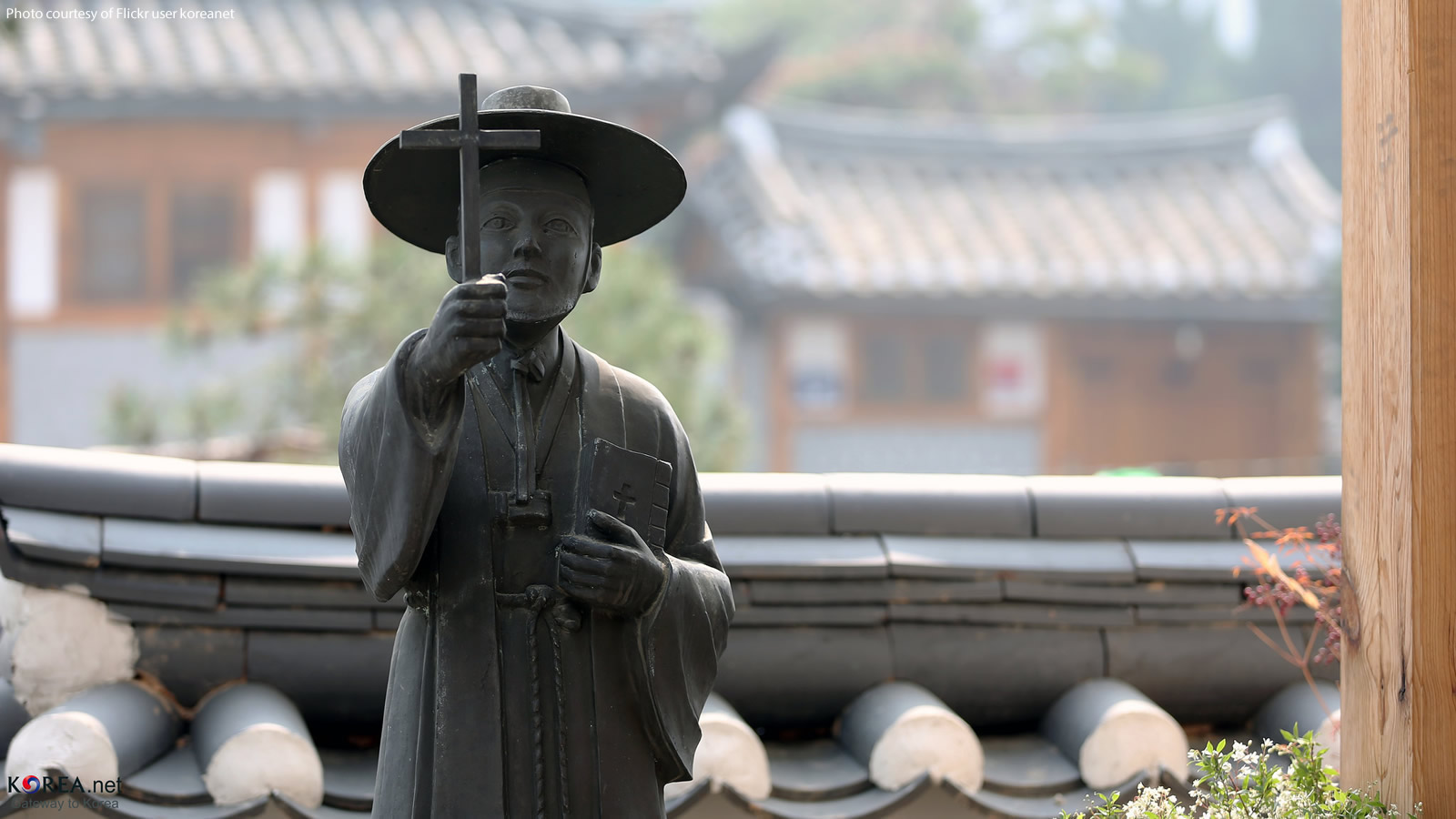 Statue of Priest at Gahee Dong Catholic Church in South Korea