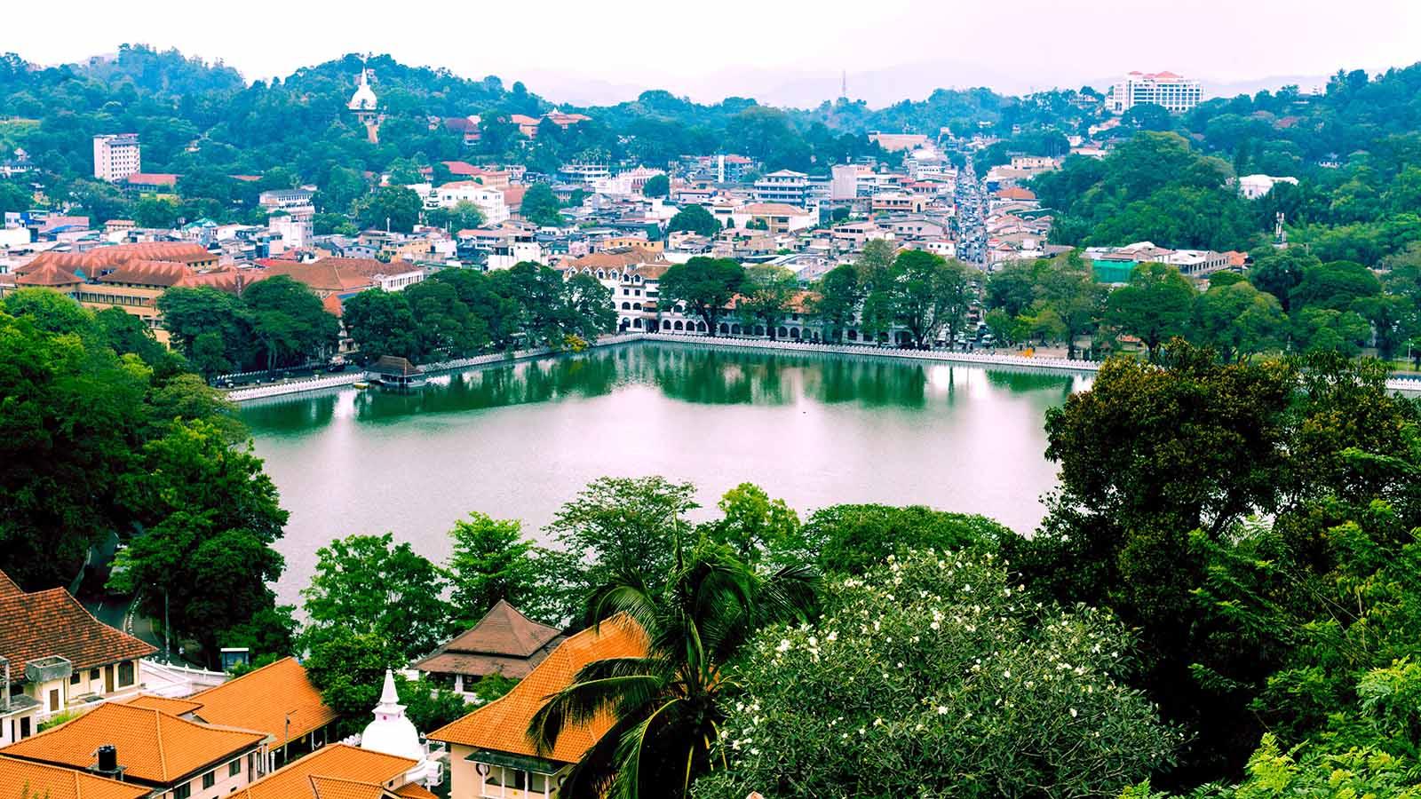 Aerial view of Kandy, Sri Lanka.