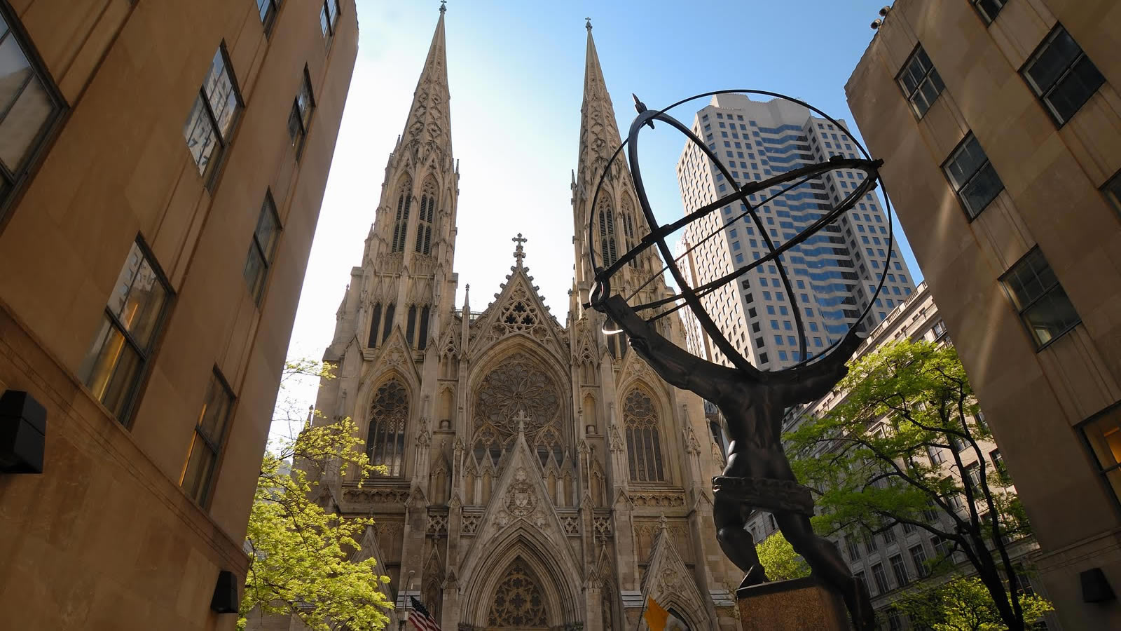 St Patrick's Cathedral in New York City with Atlas Globe Statue