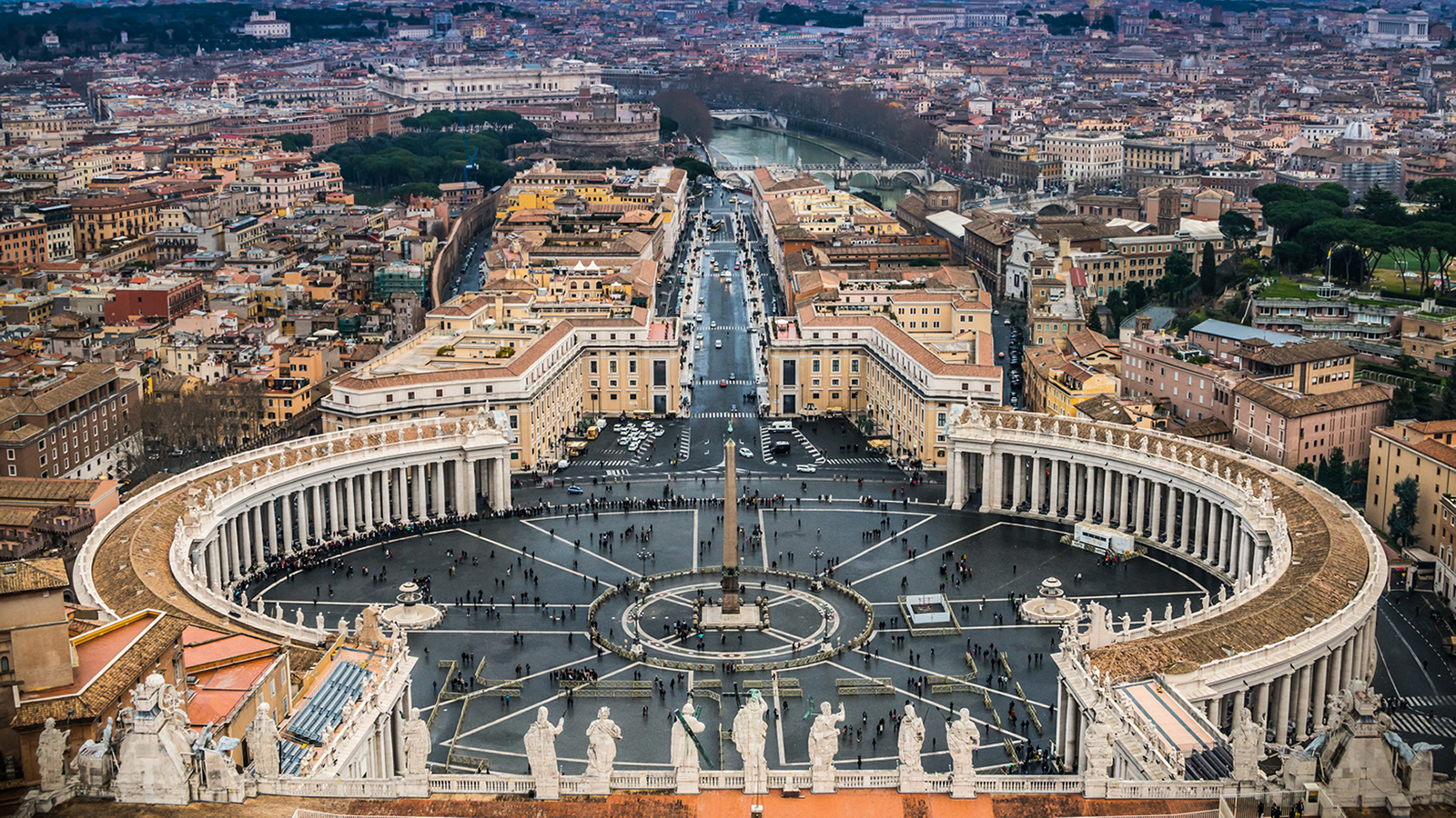 Aerial View of St. Peter's Square at the Vatican