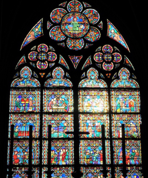 Stained glass window from a church in Paris, France