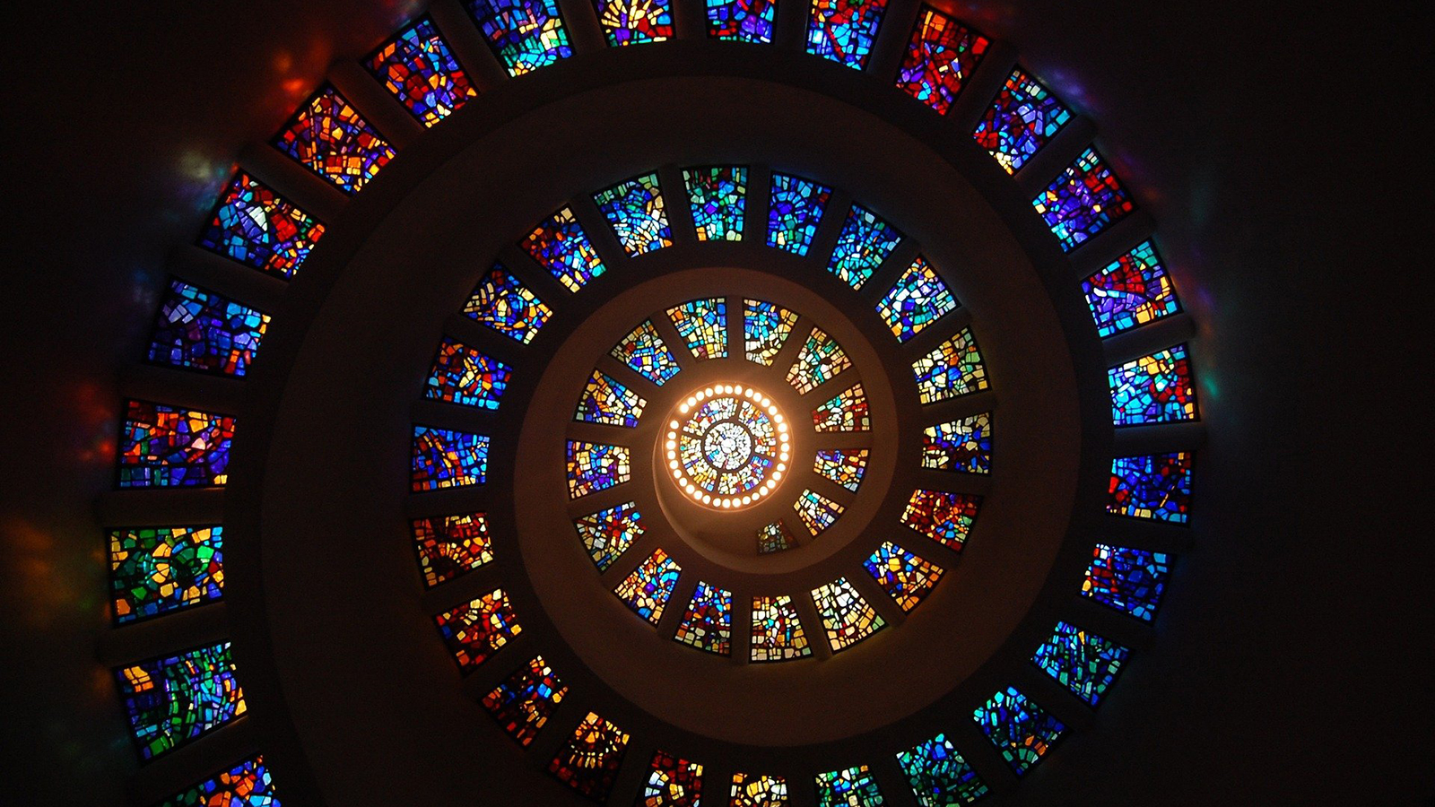 Spiral of stained glass windows.