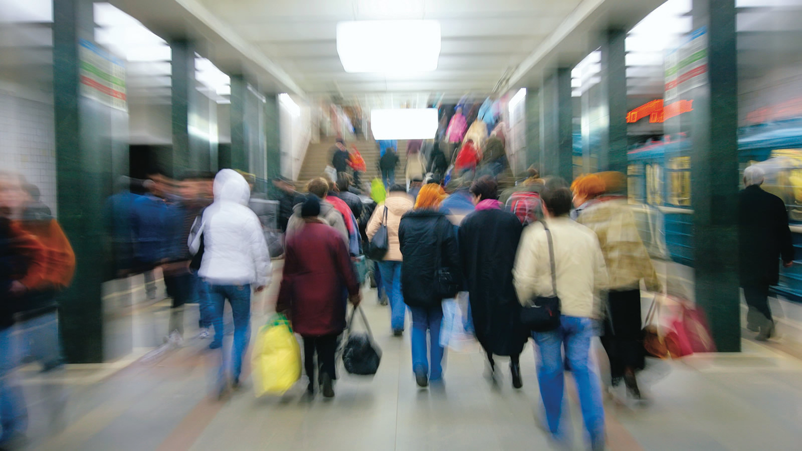 People Walking on the Subway (blurred)