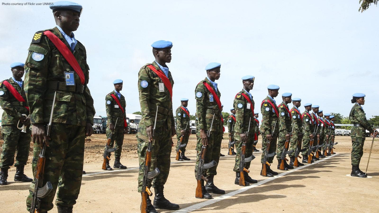 United Nations Peacekeeping Soldiers in Rows in Sudan