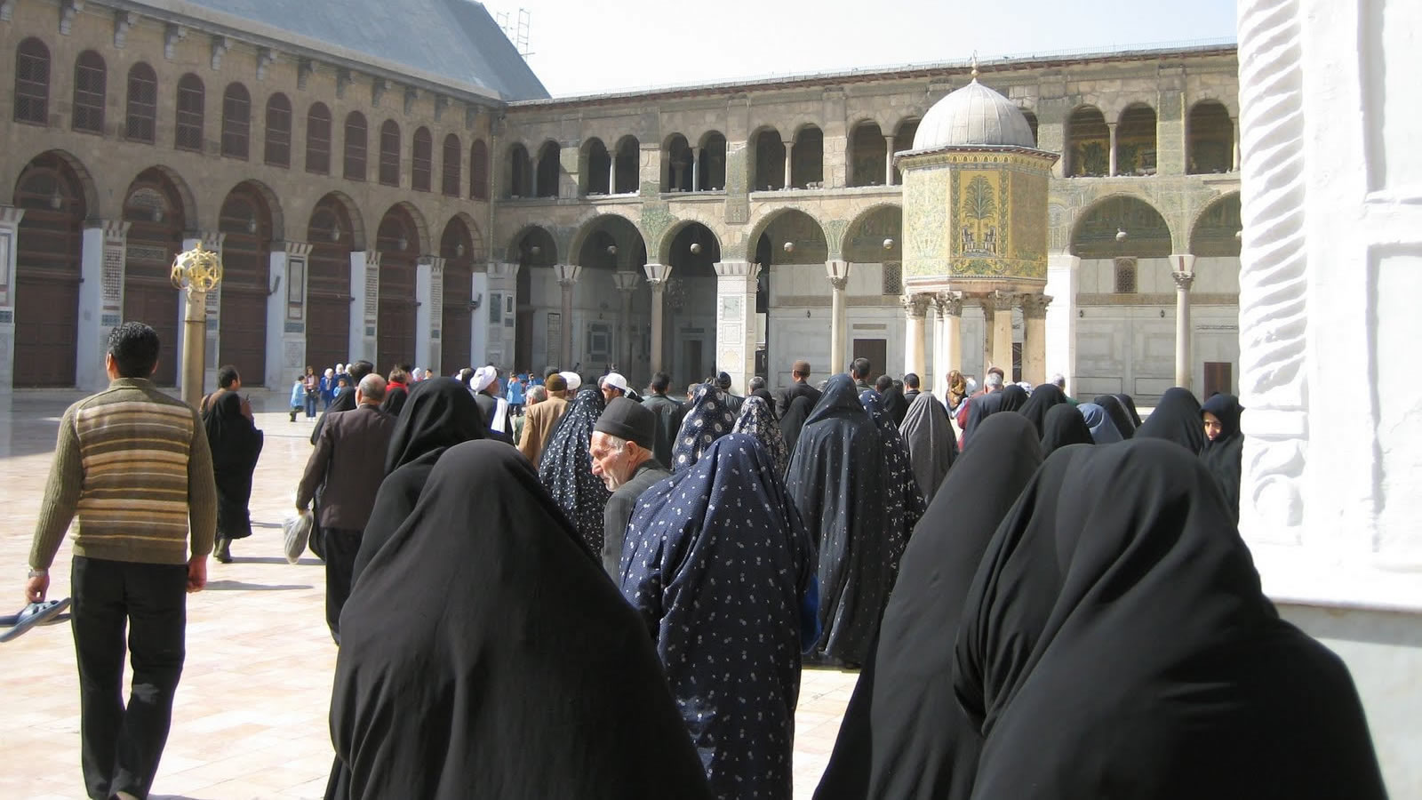 Iranian Pilgrims in the Courtyard of the Umayyas Mosque in Syria