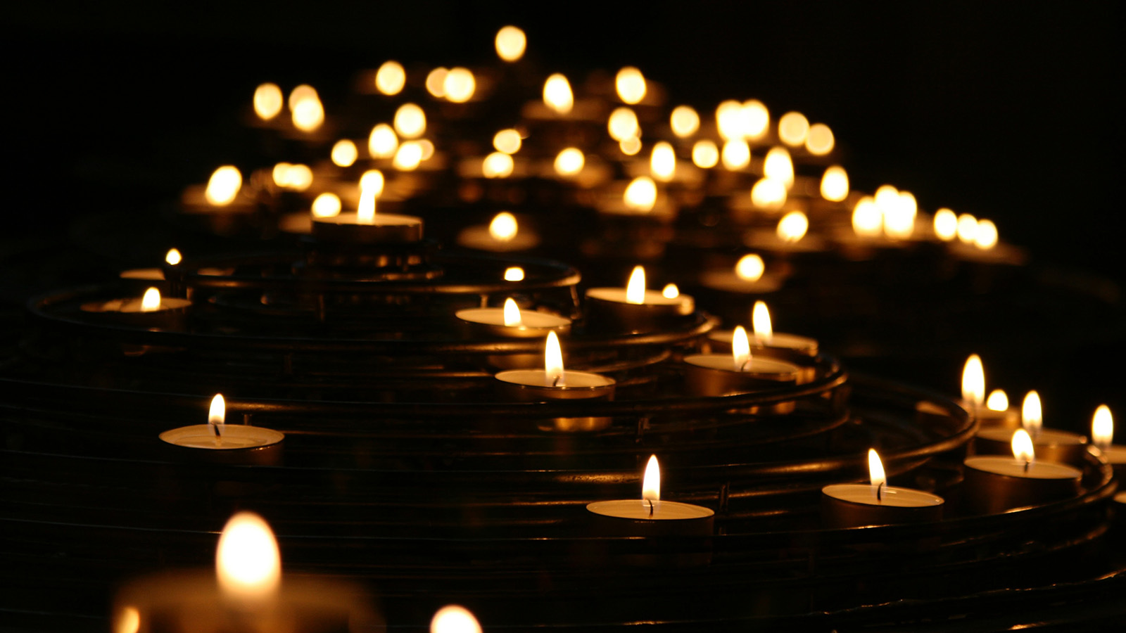 Candles floating in the water