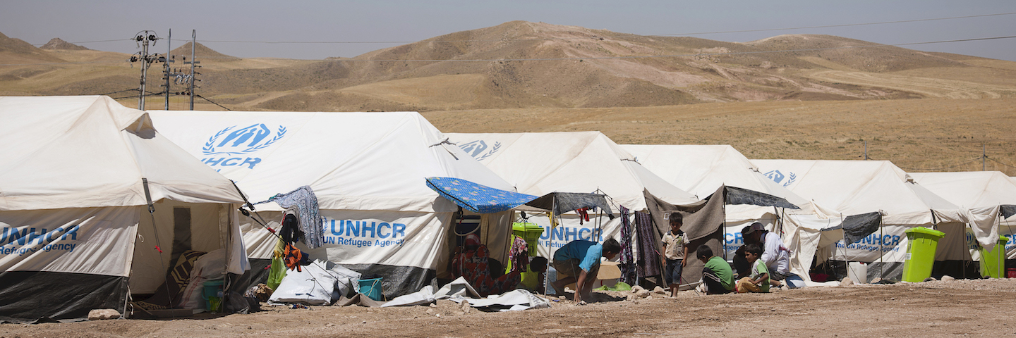 UNHCR tents in the desert