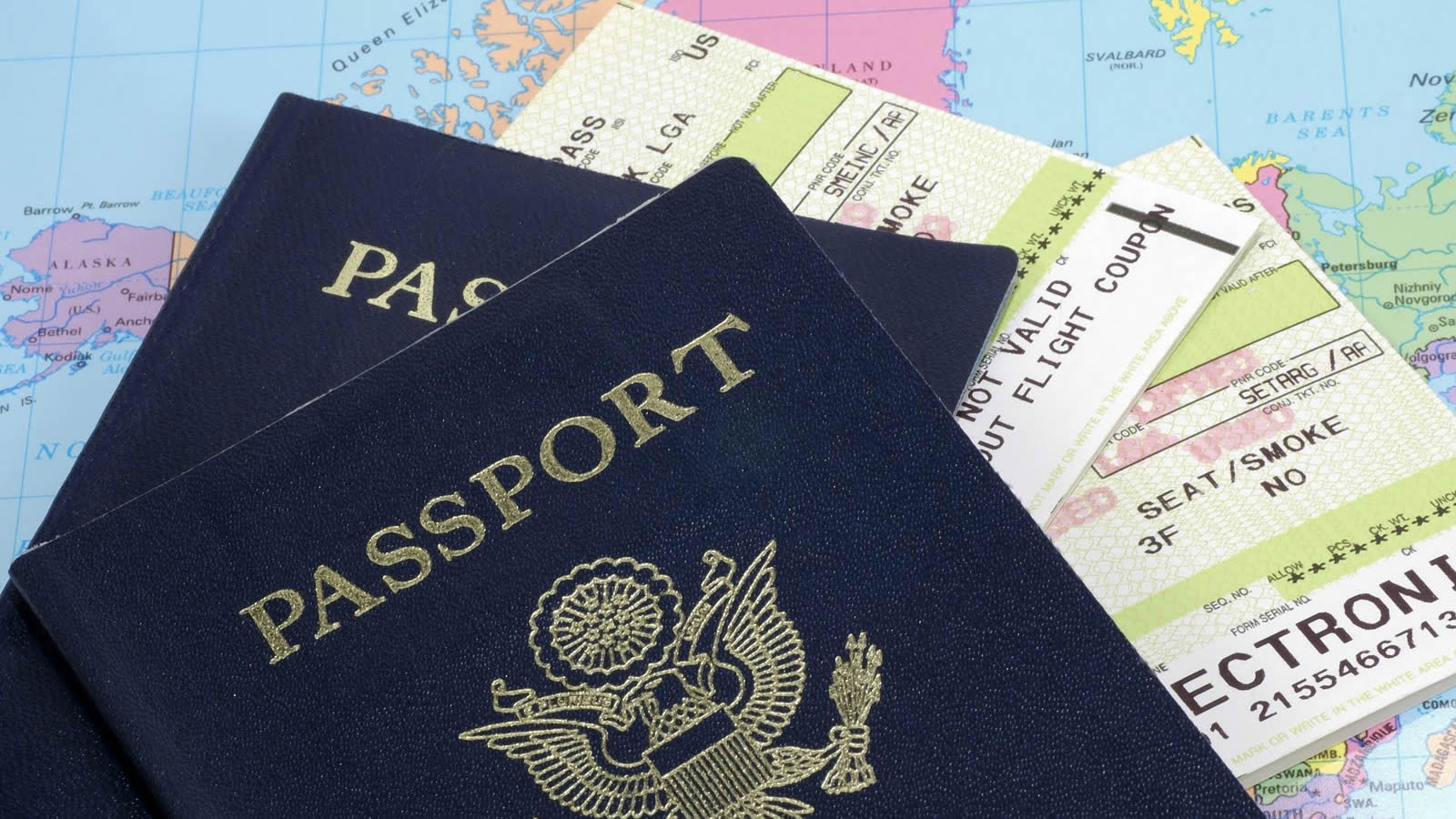 U.S. passports on top of a map