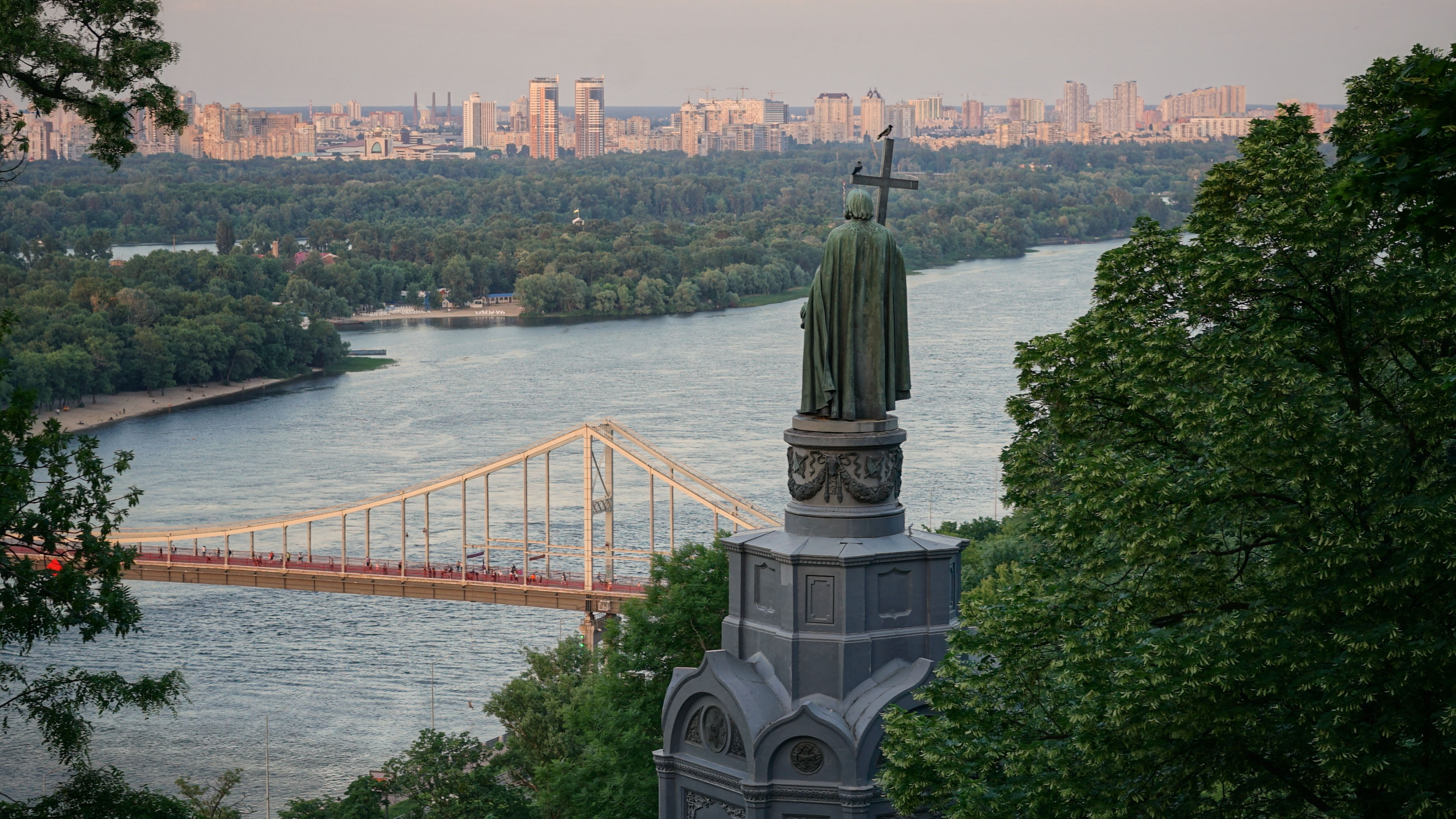 Monument to Prince Vladimir the Great overlooking the Dnieper River in Kyiv, Ukraine
