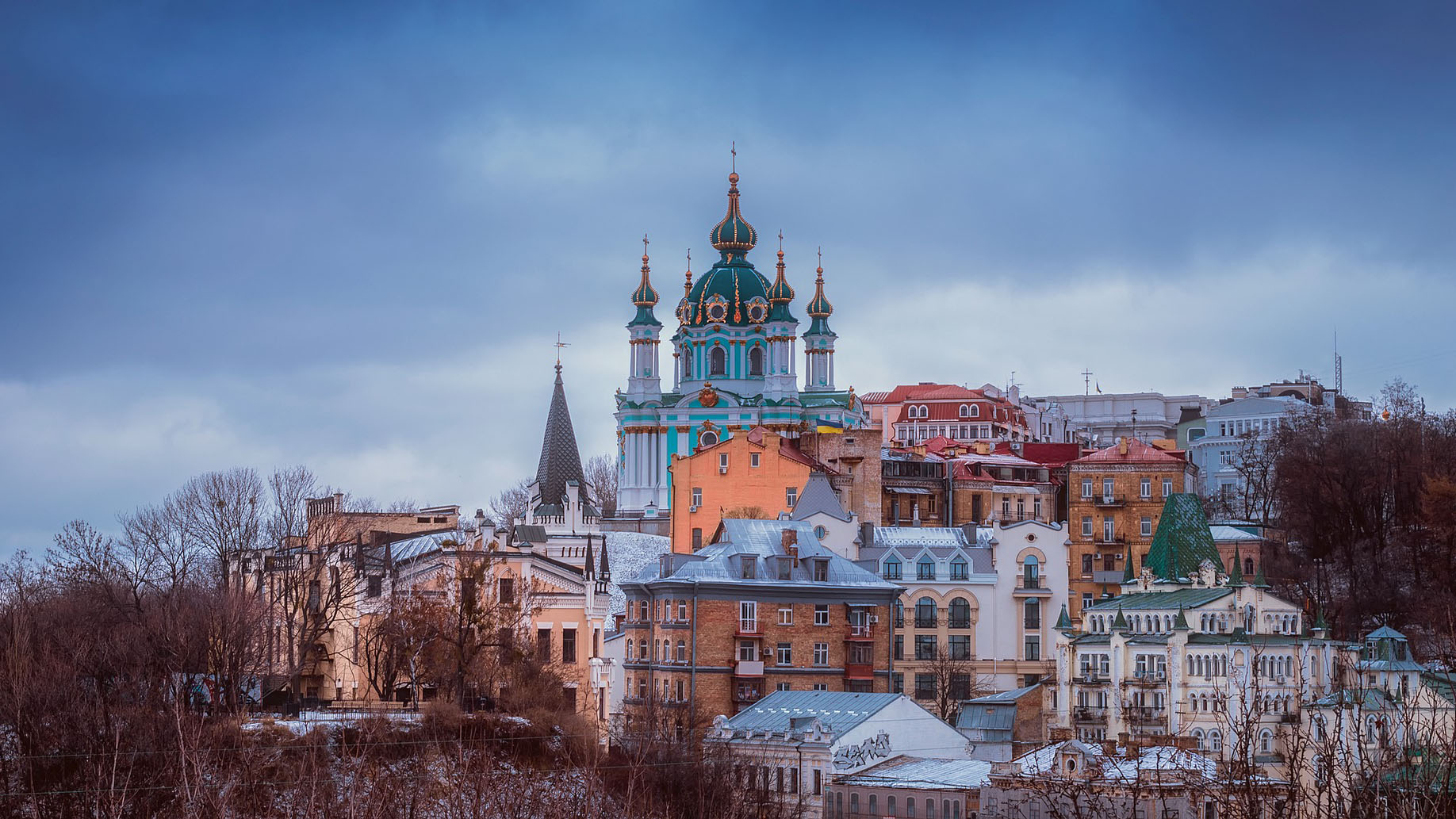 St. Andrew's Church among hillside buildings in Kyiv, Ukraine