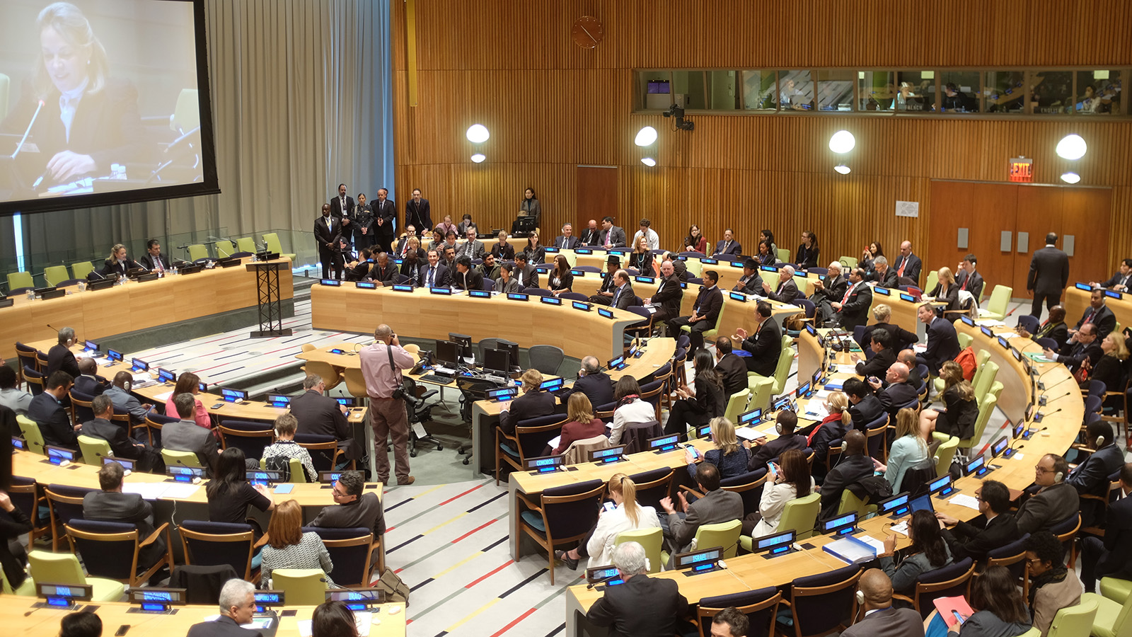 People meeting for a United Nations General Assembly session