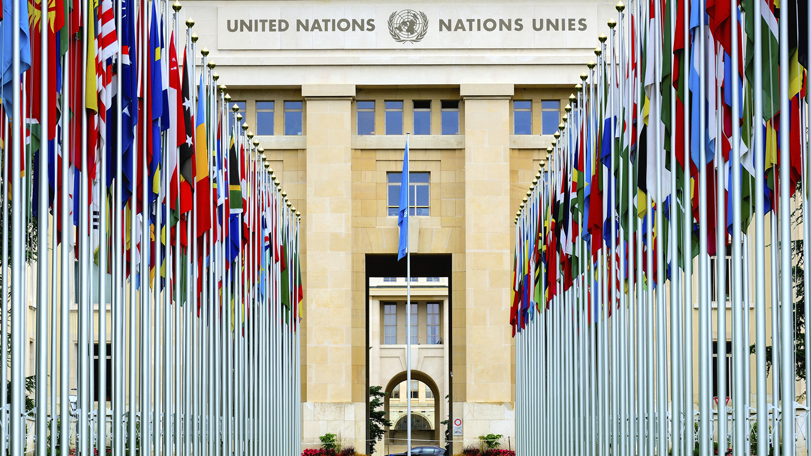 United Nations Headquarters with Flags