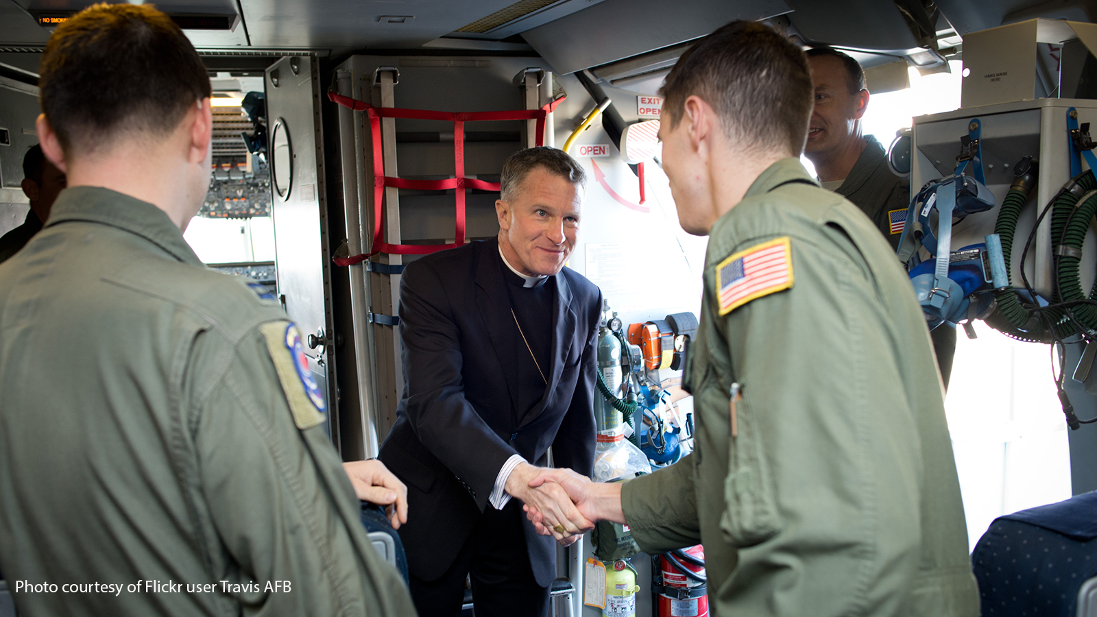 Archbishop Timothy Broglio visiting troops in 2014.