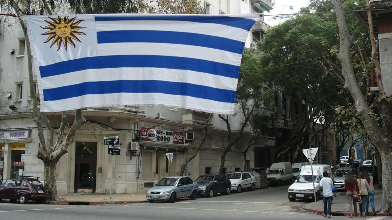 Uruguayan Flag Hanging Above a City Street
