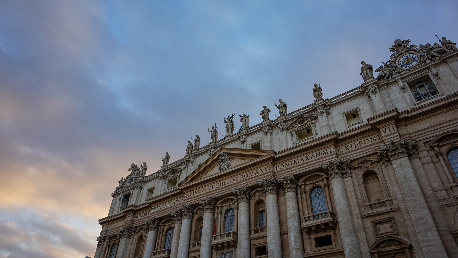 Clouds at dawn over Vatican City.