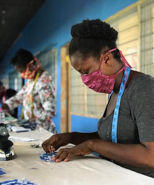 Women making masks