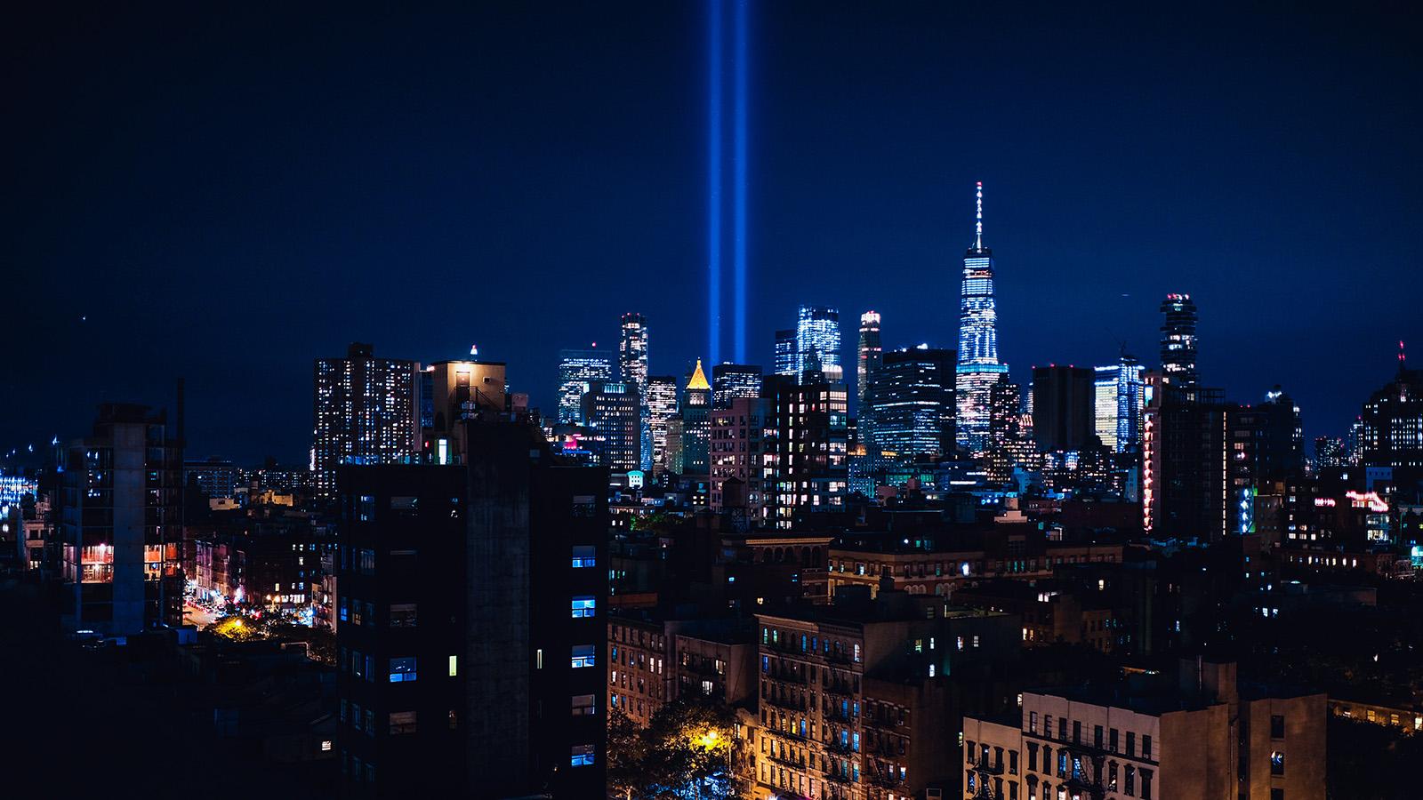 World Trade Center memorial lights.