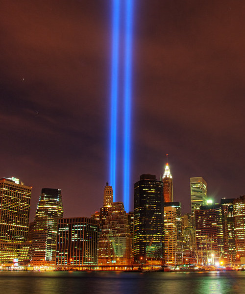 World Trade Center tribute in light, courtesy of Flickr user Dennis Leung