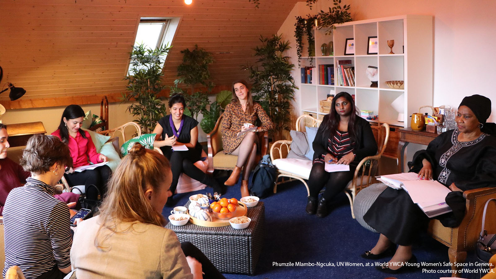 Phumzile Mlambo-Ngcuka, UN Women, at a World YWCA Young Women's Safe Space in Geneva. Photo courtesy of World YWCA.