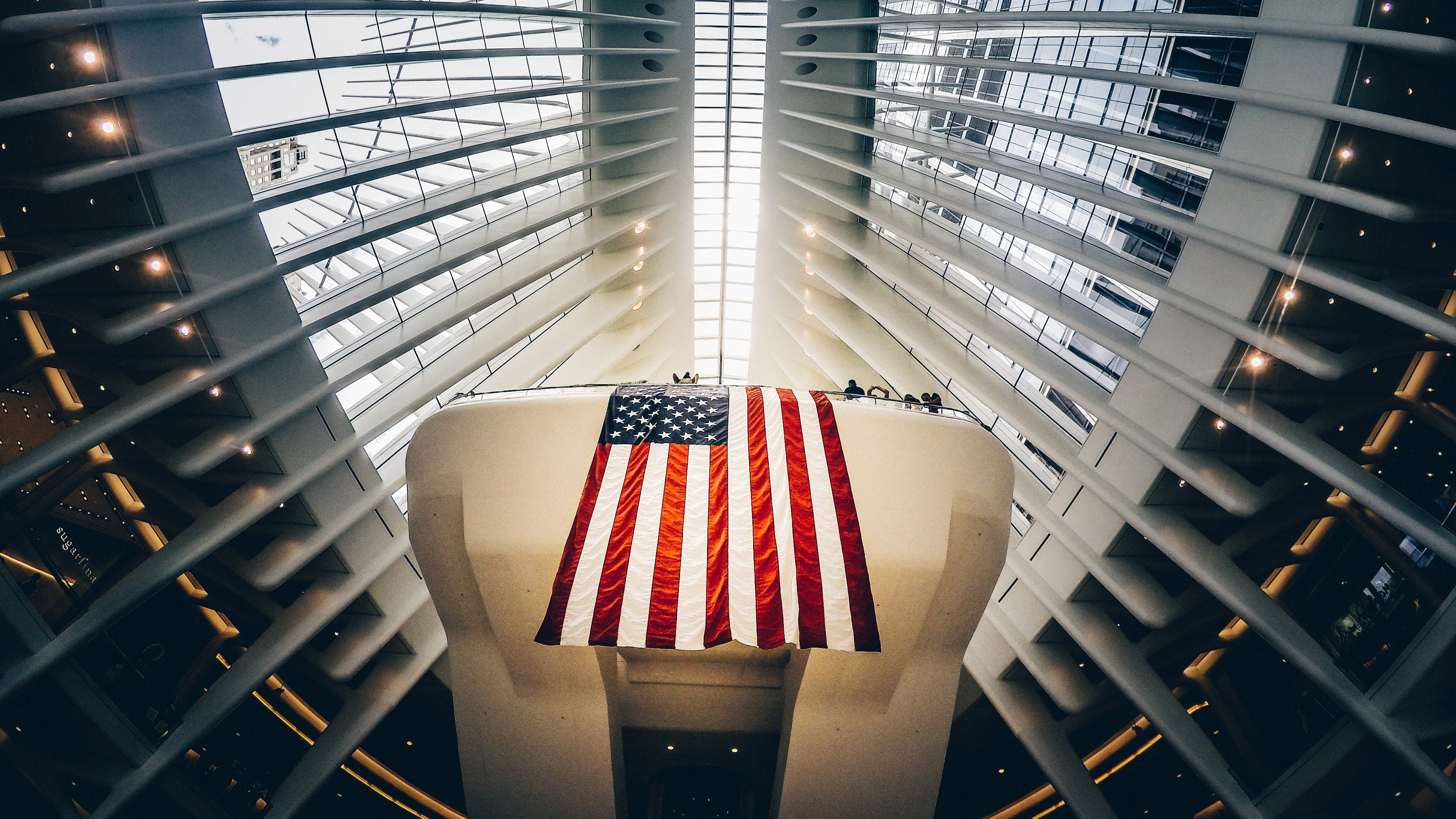 American flag hanging in the World Trade Center.