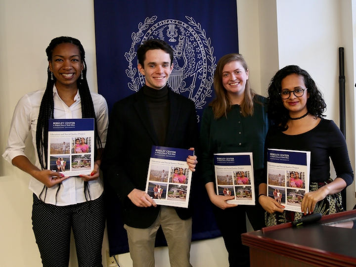 ESJ fellows celebrate the launch of their report at the Berkley Center, 2017.