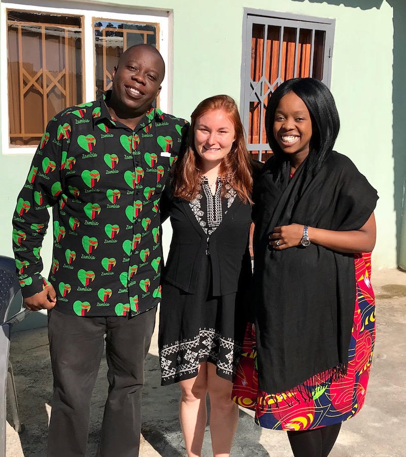 Brittany Fried with two staff members from JCTR in Lusaka, Zambia, 2018.
