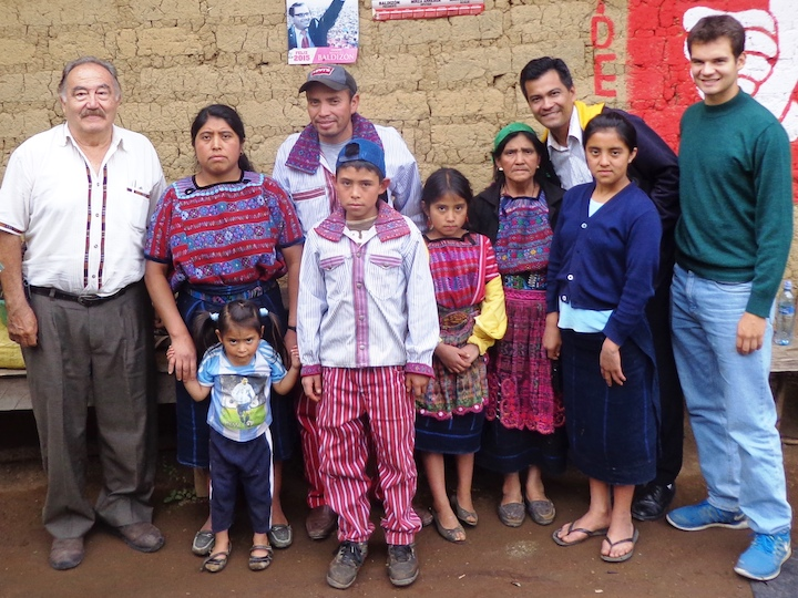 Nicolas Lake (SFS'16) with members of his host community in Guatemala, 2015.