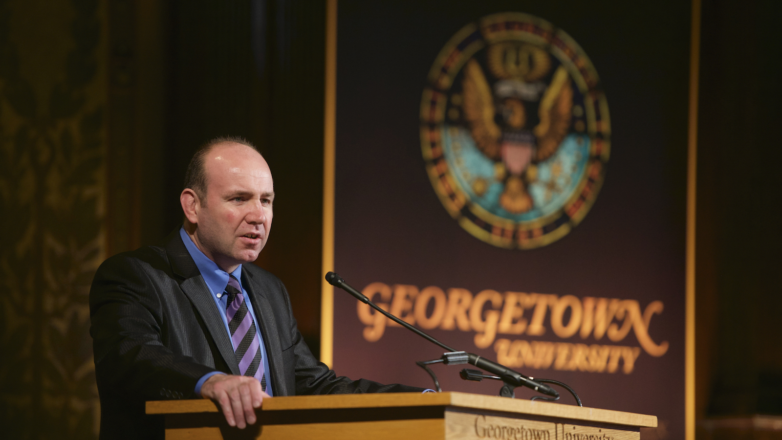 """Gerard Mannion speaks at the """"Vatican II: Remembering the Future"""" conference in May 2015 at Georgetown University."""