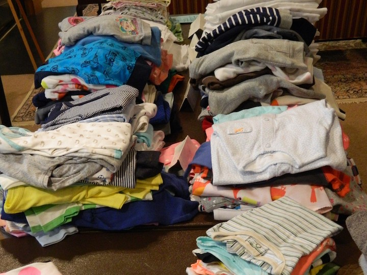 Pile of clothes from a St. Luke's clothing drive